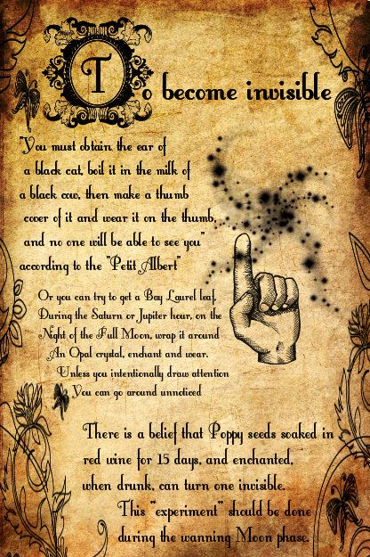 To Become Invisible Spell (Printable Spell Pages) – Witches