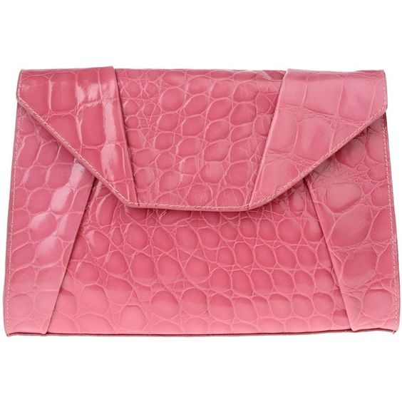 Space Style Concept Clutch ($60) ❤ liked on Polyvore featuring bags, handbags, clutches, light purple, pink handbags, leather purse, genuine leather purse, crocodile leather purse and crocodile leather handbags