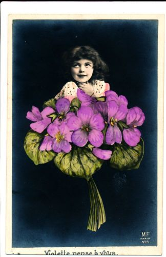 Girl-in-Flower-Hand-Colored-Real-Photo-Postcard-rppc-1906