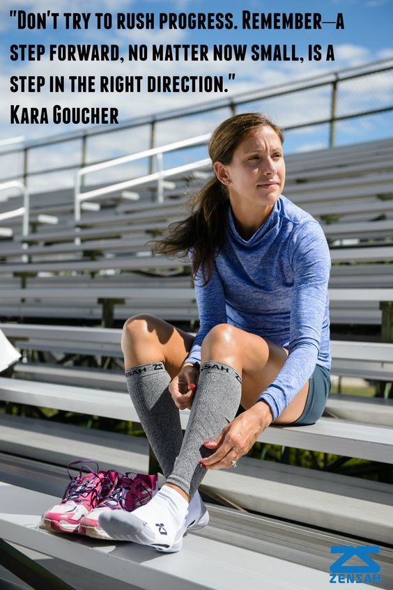 """""""Don't try to rush progress. Remember–a step forward, no matter now small, is a step in the right direction."""" Kara Goucher (via Runners World Quotes)"""