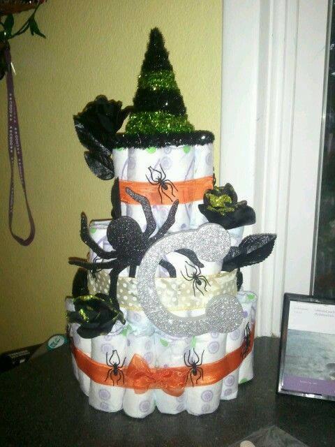 Halloween theme diaper cake for my sisters babyshower!