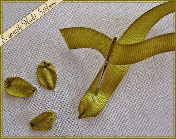 Adesivo De Parede Infantil Nuvem ~ Como fazer a folha e flor de bordado com fita passo a