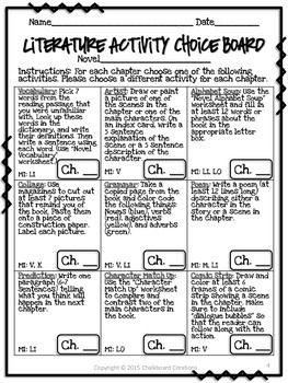 Freebie - Literature Activity Choice Board: 3rd -5th Grades