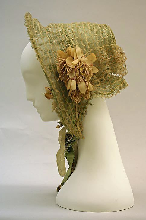 1850-1859 cotton and wool Bonnet, French.