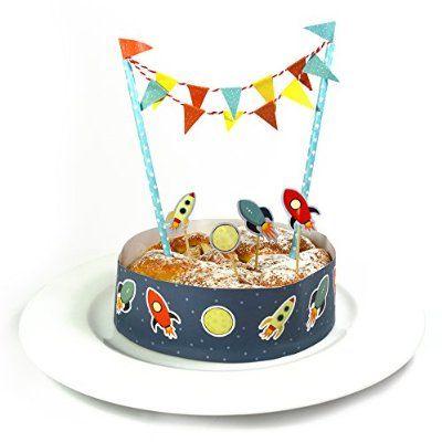 Kuchen Deko Set - Raketen - / Kuchengirlande Geburtstag / Kuchenaufsatz / Tortengirlande  Kann man sicher auch selbst machen