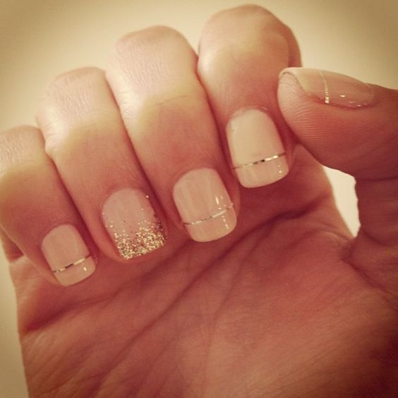 gold nails pink and gold and pastel pink on pinterest
