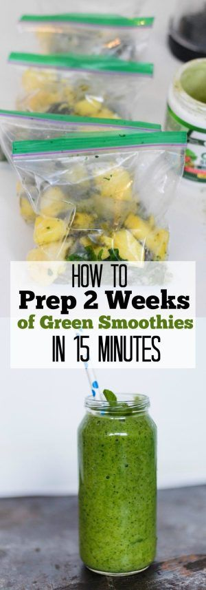How to prep 2 weeks worth of delicious and nutritious green smoothies in less than 15 minutes.