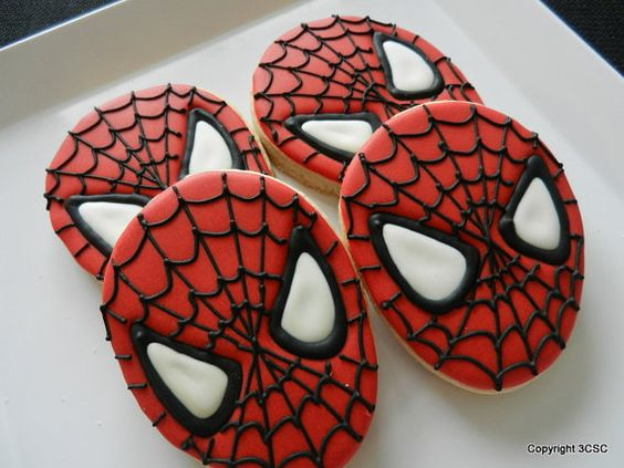 Spider Face- Spidey-Super hero  Cookies- One dozen hand decorated sugar cookies