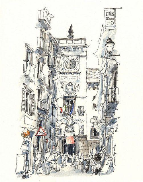Fine lines/watercolour painting. Architecture quick sketch ... : arkitektur sketch : Arkitektur