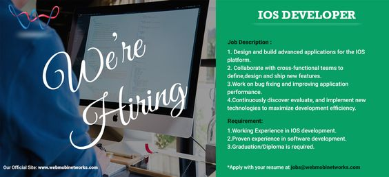 WebMobi hiring iOS Developers! Apply with your resume at jobs@webmobinetworks.com