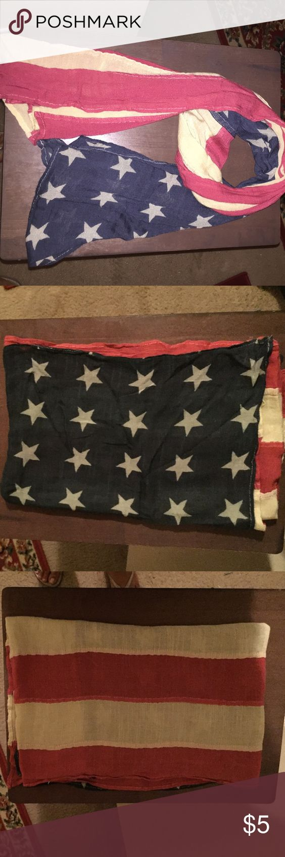 Vintage style Americana scarf Super soft rectangle scarf with vintage American flag print Accessories Scarves & Wraps