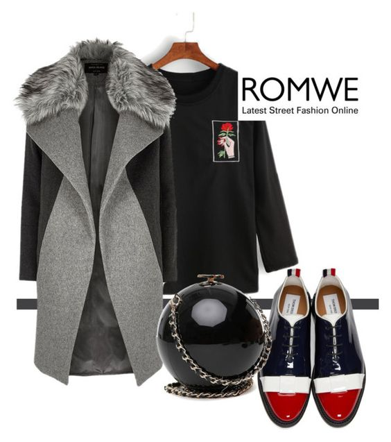 """""""ROMWE CONTEST"""" by flyawaywithmeandher ❤ liked on Polyvore featuring Thom Browne and River Island"""