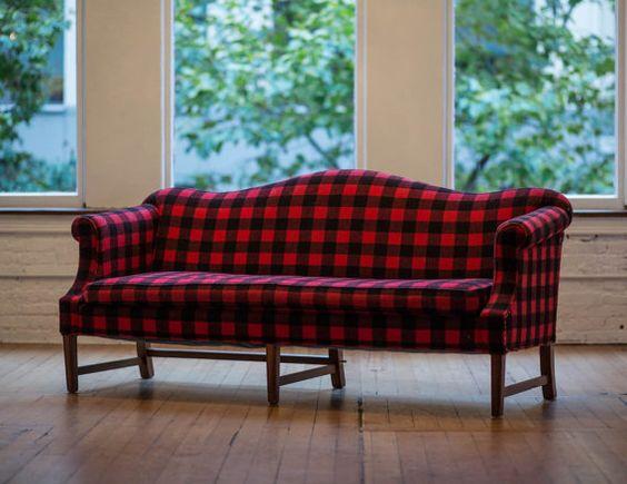 Vintage Camelback Sofa In Wool Buffalo Plaid Retro Black