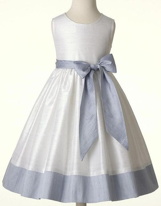Blue Flower Girl Dress: