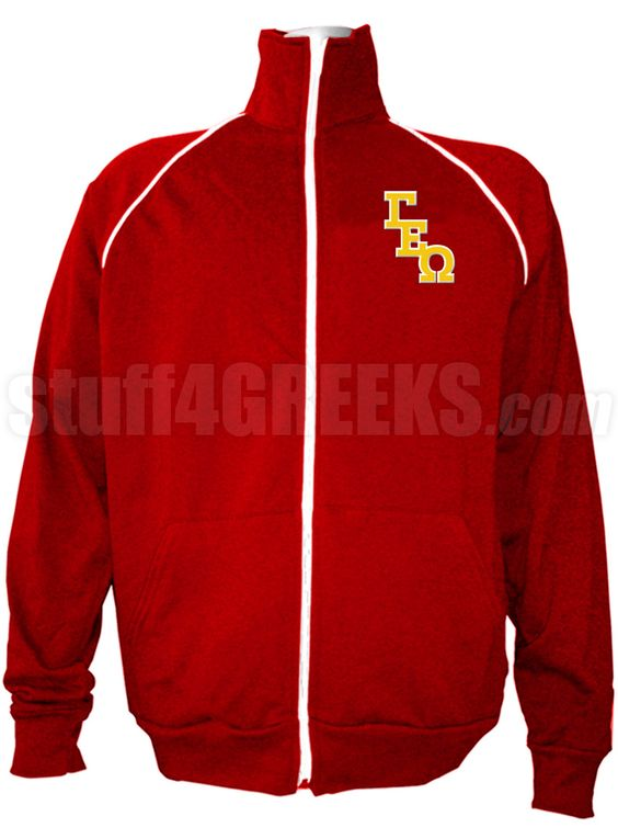 Red Gamma Epsilon Omega track jacket with logo letters on the left breast.