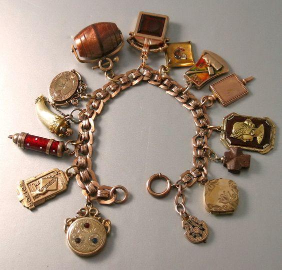 Vintage 1890-1910 Victorian 14 Charm BRACELET, Watch Fobs, Lockets .