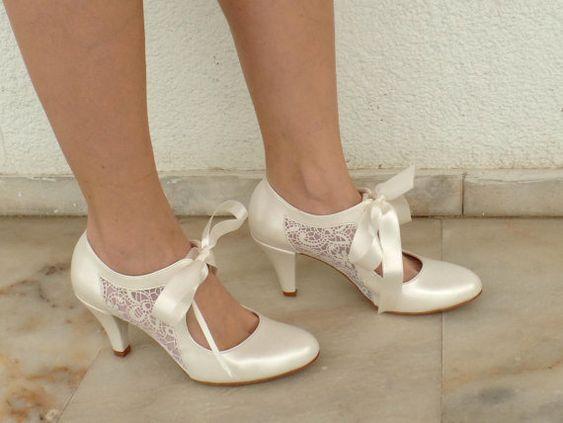 Trouwschoenen bruids schoenen met ivoor door KUKLAfashiondesign
