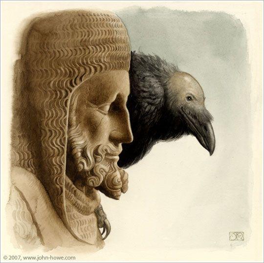 John Howe.  'King and Raven'