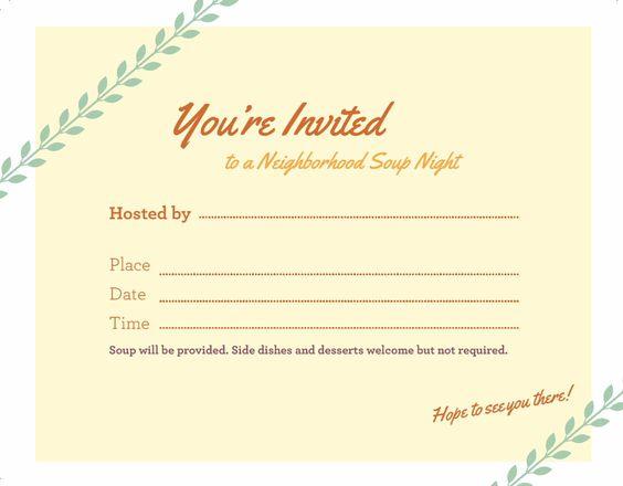 A Soup Night invitation template