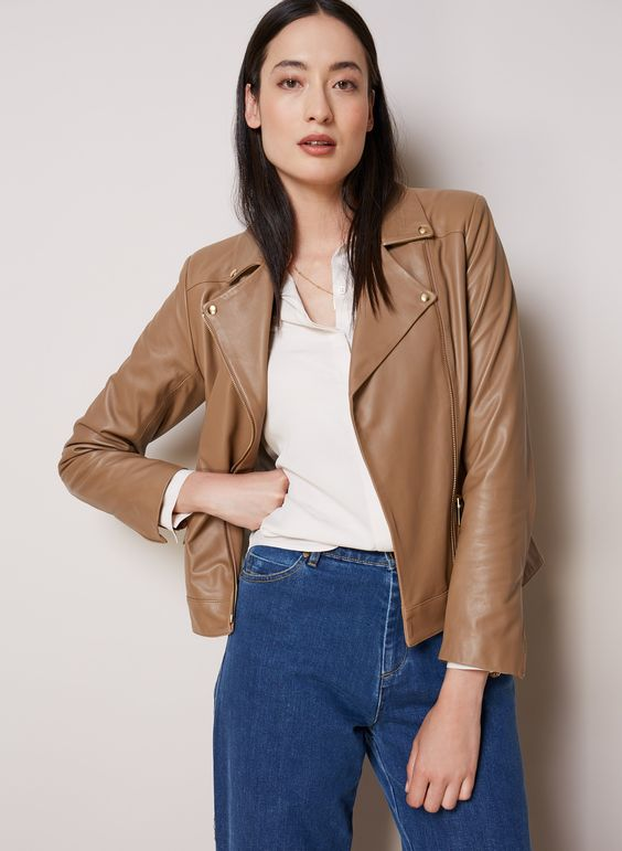 If you like your leather biker cut slightly longer and looser, then the search ends here. The gold-tone hardware on this premium, butter-soft leather jacket creates an understated elegance and will add a luxe spin to cargo pants, boyfriend jeans and plain white tees.