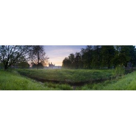 Green field with university building in the background Kings College Cambridge Cambridgeshire England Canvas Art - Panoramic Images (36 x 12)