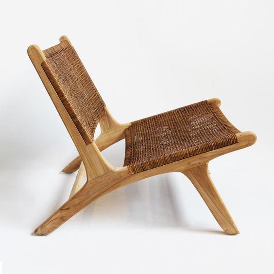 Modern Teak Wicker Easy Chair In 2020 Chair Design Rustic