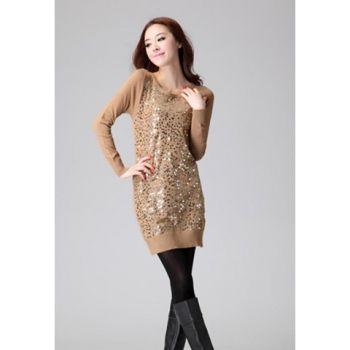 Stylish Scoop Neck Sequin Long Sleeve Skinny Women&39s Sweater Dress ...