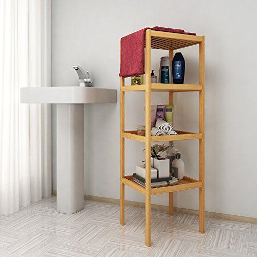 Bamboo Bathroom Shelf Wood 4 Tier Shelf Unit Multifunctional