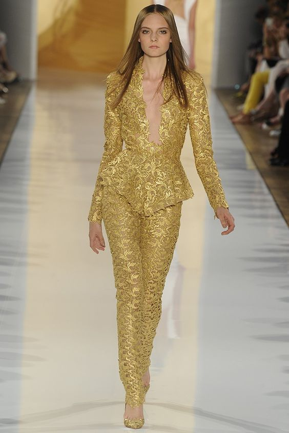 More gold brocade/lace. Alexandre Vauthier Fall Couture 2012 - Runway, Fashion Week, Reviews and Slideshows - WWD.com