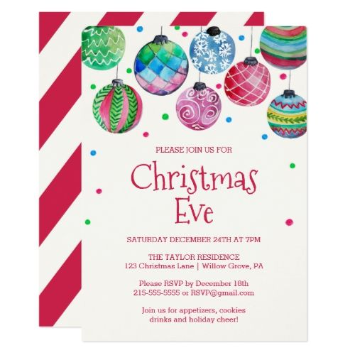 Holiday Ornament Christmas Eve Party Invitation Zazzle Com Ornament Exchange Party Christmas Eve Party Invitations Christmas Party Invitations