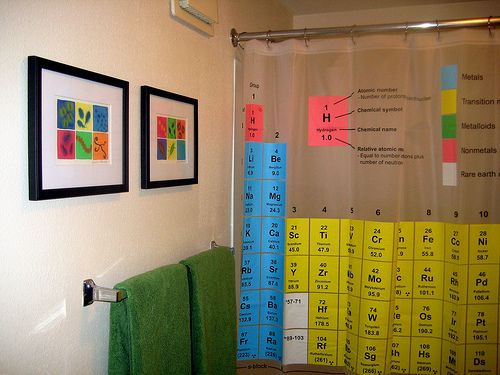 Curtains Ideas chemistry shower curtain : A surprisingly colorful science geek bathroom and a buncha little ...