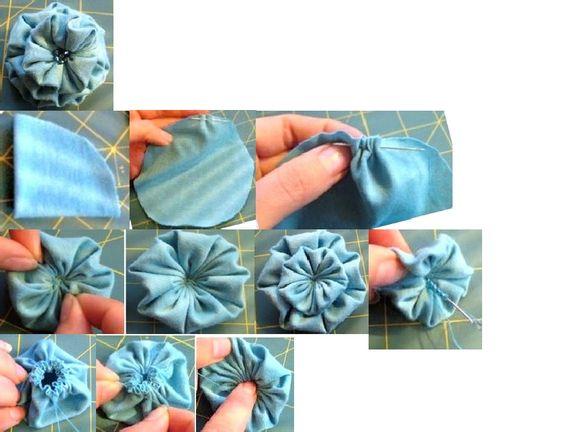 fabric flower using a yo-yo technique: Fabric Yo Yo, Fabric Flowers, Yoyo Flower, Yoyos Rickrack, Flowers Scribd, Flowers Supples, Supples Fabric