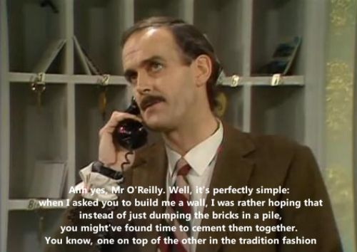 Fawlty Towers. Up late, watching old clips of Fawlty Towers on Youtube.  Came to a sudden, devastating realization.....  I -AM- Basil Fawlty. Oh, my gosh.  Lord, help me.