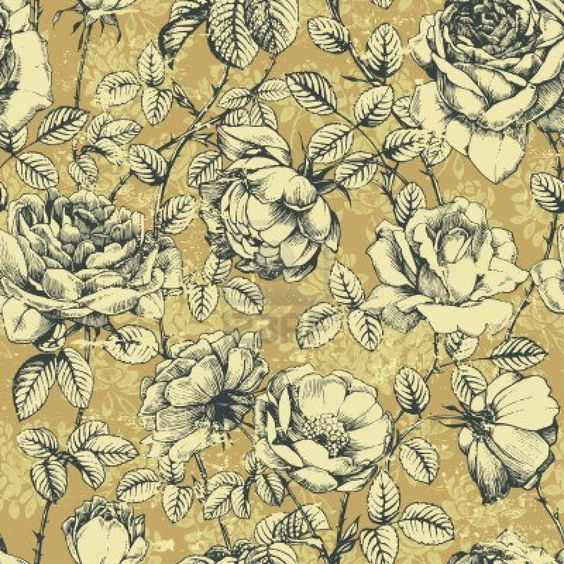 Vintage wallpaper with roses.