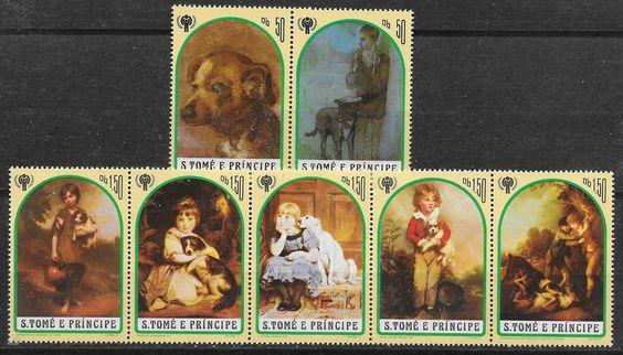 St.Tome+Principe/ Hunde-Gemälde MiNr 722/28 A **