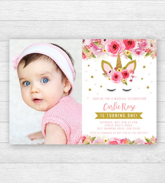 Funny Unicorn Birthday Party Invitation DIGITAL FILE Personalized with photo