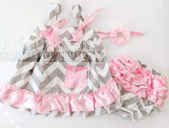 SUMMER CLEARANCE Sale! Baby Girls Medium 6-12 Months Grey and Pink Chevron Swing Top