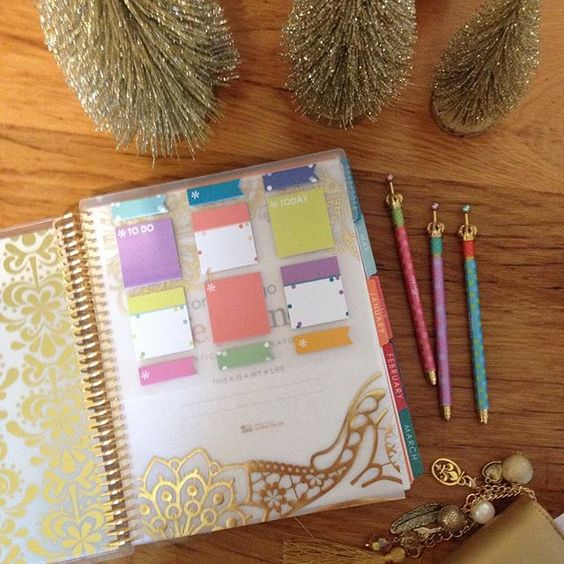 My snap in sticky notes are all ready and in place- look at that gold foiling  #erincondren #eclp #planner #planwithme #planneraddict #crownpens #stationery #stickynotes #christmas @natalieshaunacrafts