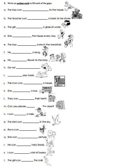 Action verb Practice Sheet Classroom Projects Pinterest - what is an action verb