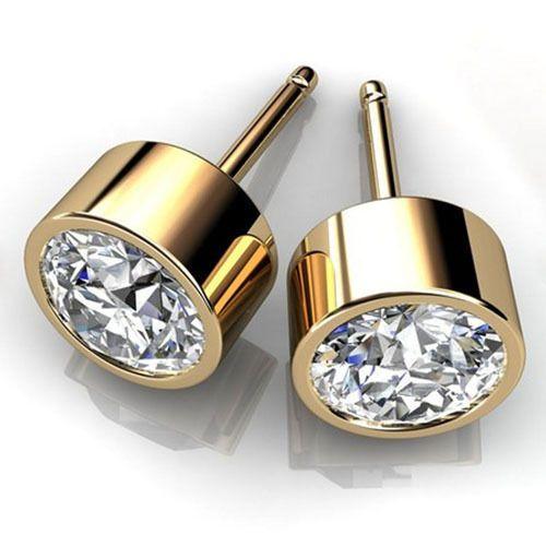 4 Ct Round Bezel Diamond Stud Earrings Real Solid 14k Yellow Gold Stud Earrings Diamond Studs Bezel Diamond Studs Yellow Gold Earrings Studs