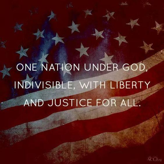 Pledge of allegiance! Something we say every morning, facing the flag and I love the fact that we do.: