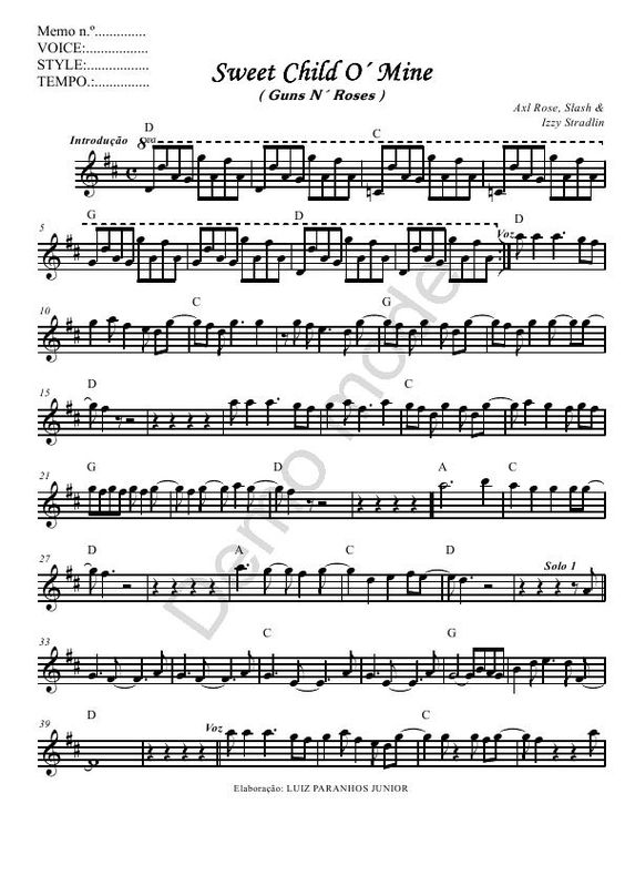 Sweet Child Ou0027Mine - Guns Nu0027 Roses - Sheet Music for Violin - music contract template