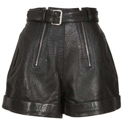 Carven Black Cracked Leather Shorts (€353) ❤ liked on Polyvore featuring shorts, bottoms, short, embellished shorts, short shorts and zipper shorts