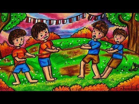 Cara Menggambar Dan Mewarnai Tema Lomba Tarik Tambang 17 Agustus Kemerdekaan Indonesia Youtube Ilustrasi Karakter Cara Menggambar Gambar