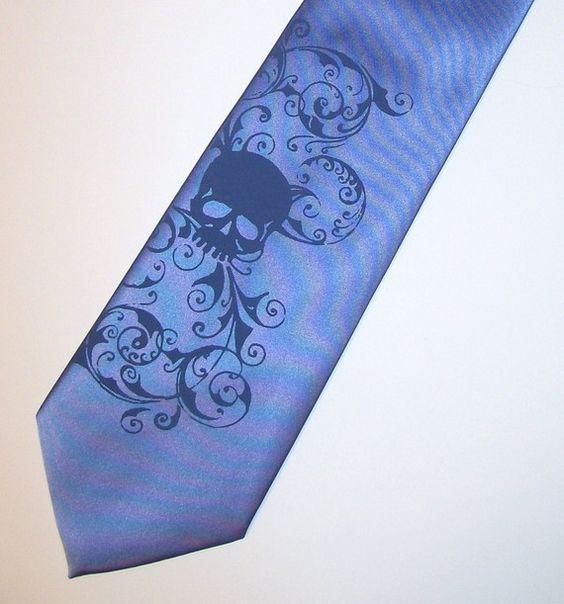 Periwinkle Necktie mens Distressed skull  tie original art work hand silk screen by RokGear.com