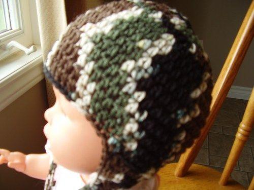 12-24 month size Crochet Camouflage Earflap Hat, Childrens, boy, girl   kniftyhooksneedles - Children's on ArtFire