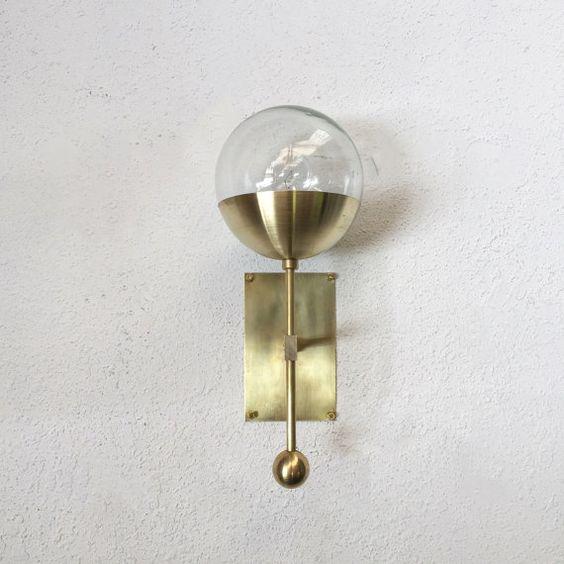 Bathroom Sconces Facing Up Or Down modern designer brass light sconce with glass globe - east