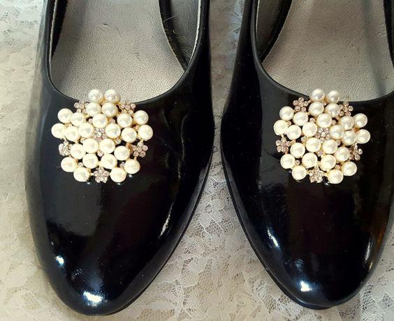 Wedding Vintage Style Shoe Clips, Bridal Shoe Clips, Rhinestone Shoe CLips, Pearl Shoe Clips, Clips for Wedding SHoes, Bridal SHoes - by ShoeClipsOnly on Etsy