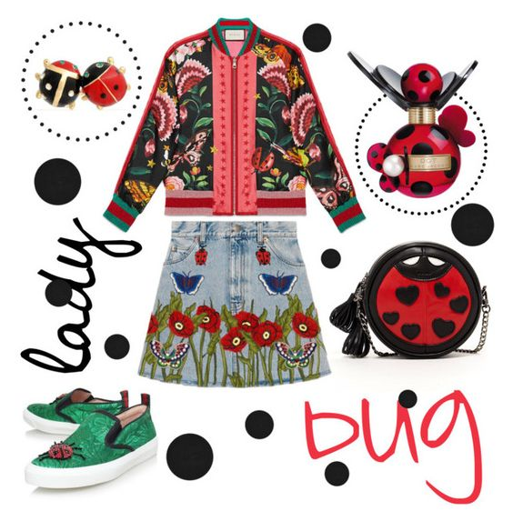 """""""ladybug"""" by janesmiley ❤ liked on Polyvore featuring Gucci, Marc Jacobs, SUSU, Bling Jewelry and Chilewich"""
