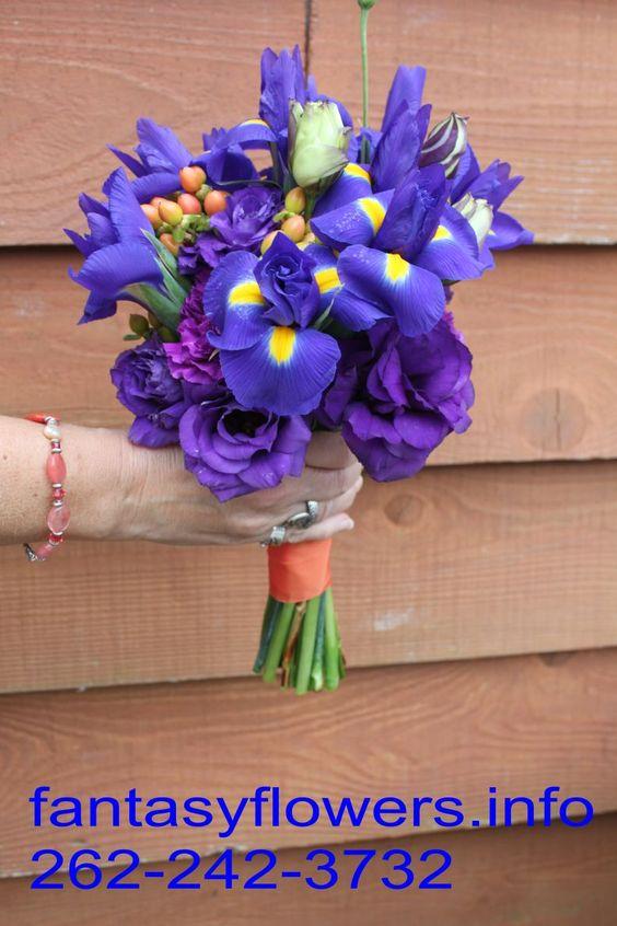 purple and plum brides maids bouquet by Fantasy Flowers Thiensvillle WI